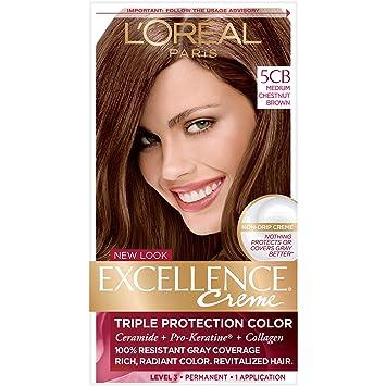 Amazon.com: L\'Oréal Paris Excellence Créme Permanent Hair Color, 5CB ...
