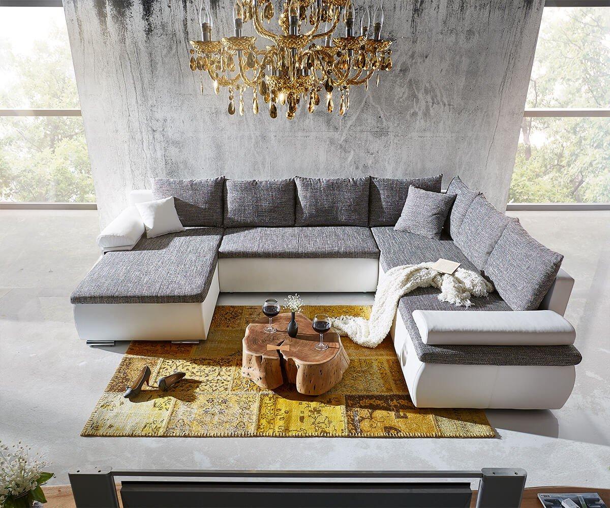 Couch Cariba Weiss Grau 322x250 Cm Mit Schlaffunktion Wohnlandschaft