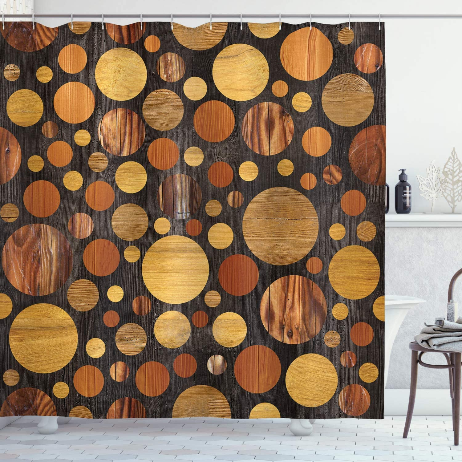 "Ambesonne Wooden Shower Curtain, Brown Wood Textures Abstract Pattern Circles Timber Oak Natural Grain Style Art Print, Cloth Fabric Bathroom Decor Set with Hooks, 70"" Long, Brown"