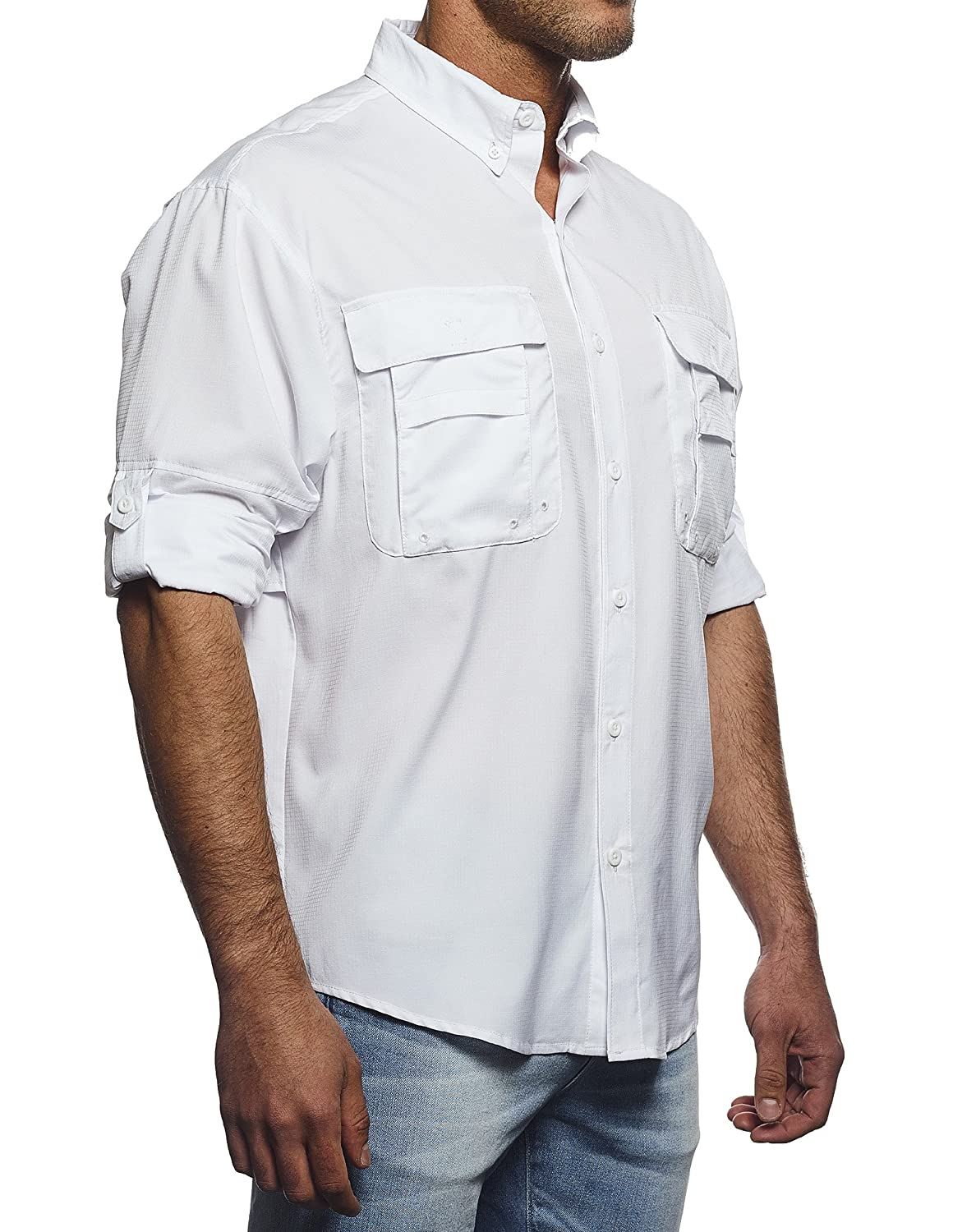 Pro Celebrity Mens Long Sleeve Button-Down Fishing Shirt
