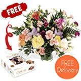 Fresh Flowers Delivered - Friendship Bouquet of Carnations and Freesias in Mixed Colours with Chocolates, Flower Food and Bonus Ebook Guide - Perfect For Birthdays, Anniversaries and Thank You Gifts