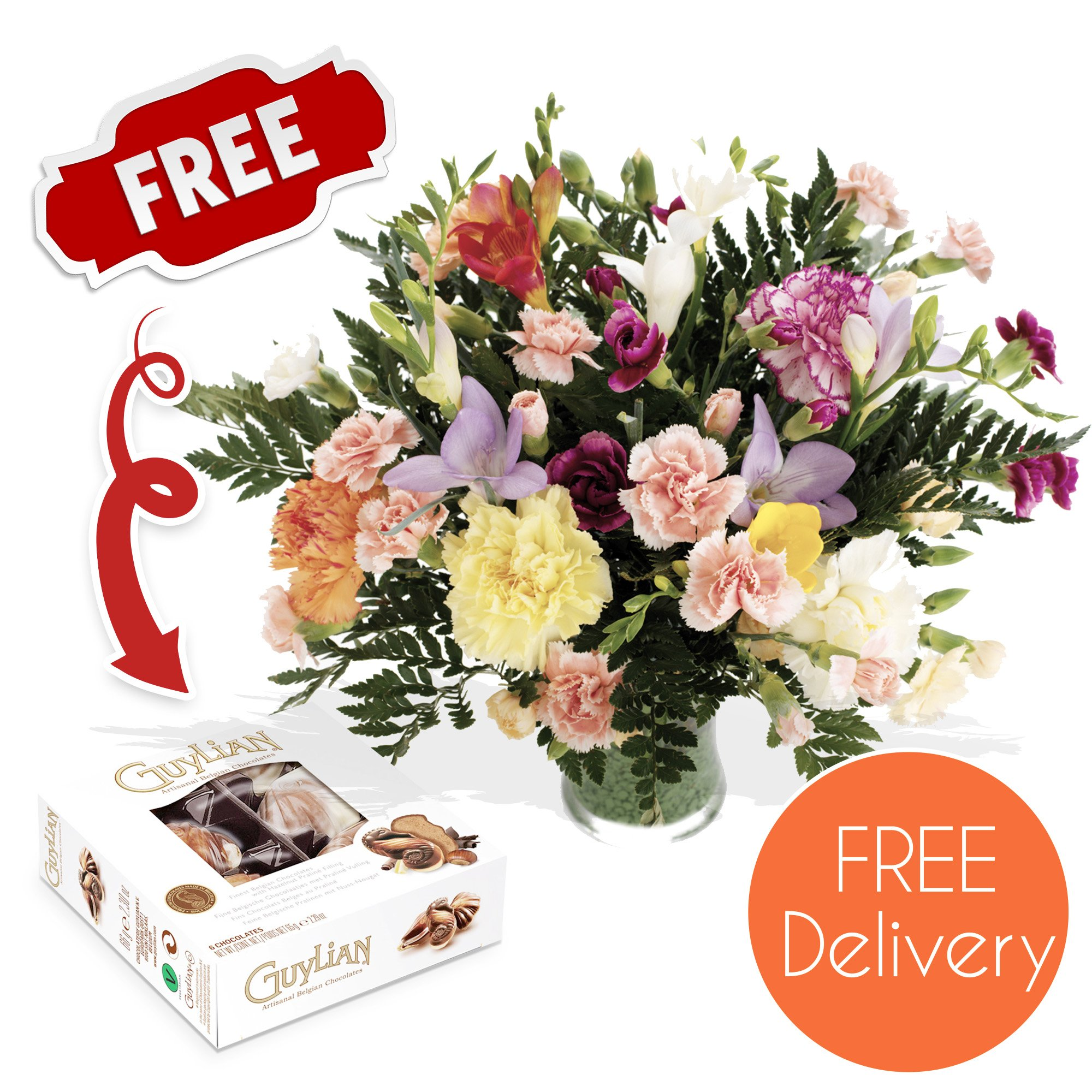 Chocolate flower bouquet amazon fresh flowers delivered friendship bouquet of carnations and freesias in mixed colours with chocolates izmirmasajfo