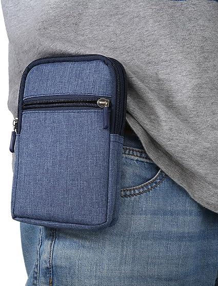 Teléfono celular bolsa, Moon Mood® Universal 6,3 pulgadas teléfono bolsa para hombres mujeres plaza Denim cremallera tarjeta teléfono móvil Cartera ...