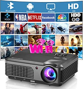 LCD Outdoor Bluetooth WiFi Projector Full HD 1080P Home Theater Smart Zoom Video Projector Wireless Screen Mirror Airplay for HDMI USB VGA AV Android Phone Fire TV Stick