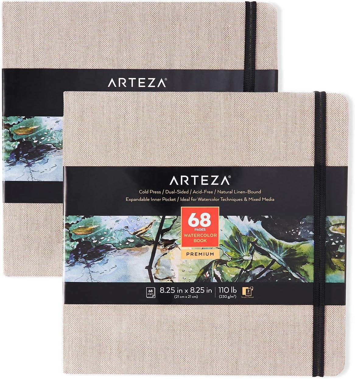 8.25x8.25-inch 68 for Arteza Watercolor Sketchbooks Beige Art Journal 2-Pack