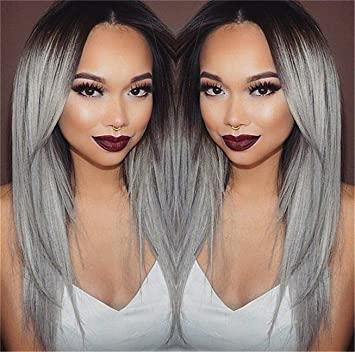 Worldflying®long Straight Hair Black to Grey Ombre Wig Heat Resistant Fiber Synthetic Cosplay Wigs