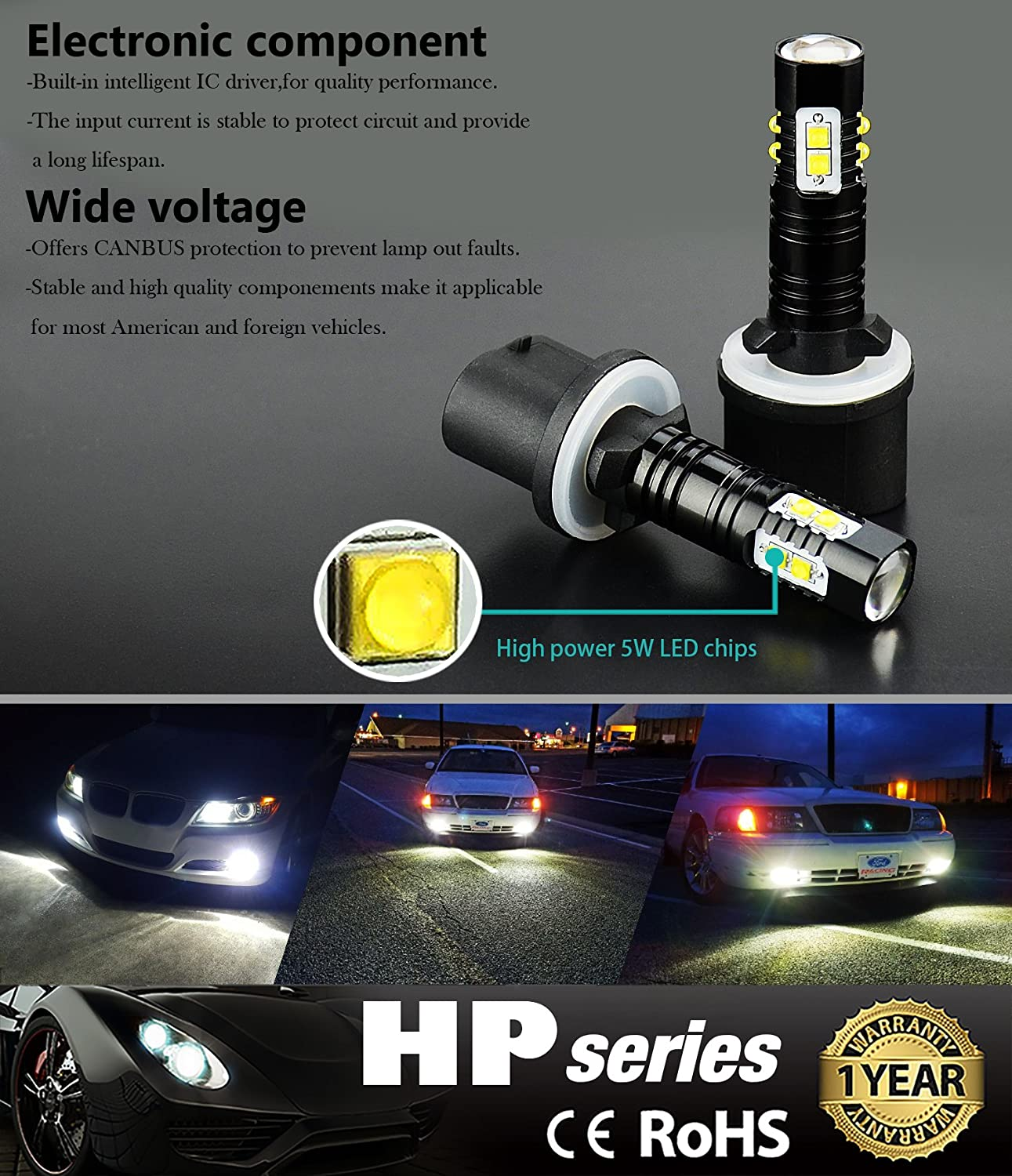 Jdm Astar Extremely Bright Max 50w High Power 880 Led White Flood Lamp Circuit B2b Electronic Components Fog Light Bulbs For Drl Or Lights Xenon Automotive