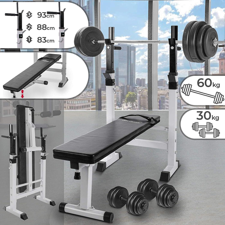 Physionics - Banco de pesas + Mancuernas de 30 kg + Barra de pesas ...
