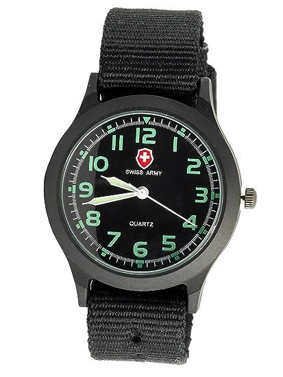 SWISS ARMY - Reloj de pulsera militar con manecillas luminosas, correa de lona negra, esfera negra + batería de repuesto + bolsa de regalo: Amazon.es: ...