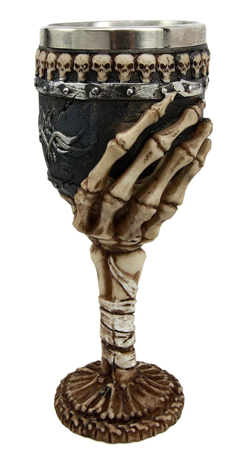 Atlantic Collectibles Graveyard Ossuary Skeletal Hand Grasping 6oz Wine Chalice Goblet
