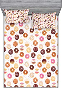 Ambesonne Food Fitted Sheet & Pillow Sham Set, Donuts and Little Hearts Pattern Colorful Yummy Delicious Desserts Print, Decorative Printed 3 Piece Bedding Decor Set, Queen, Pink Brown