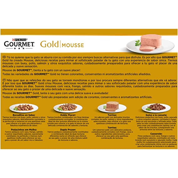 Purina Gourmet Gold Mousse Pack Pescado del Océano 12x85g: Amazon.es: Amazon Pantry