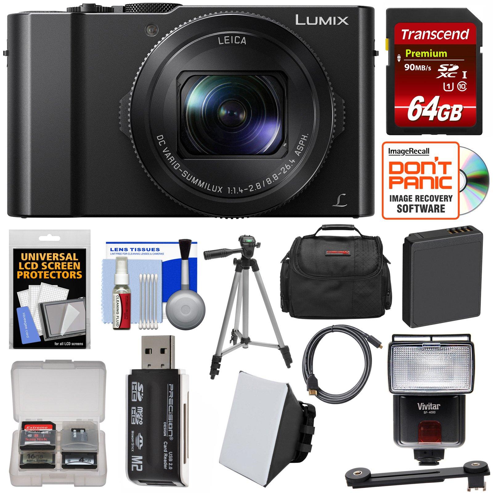 Panasonic Lumix DMC-LX10 4K Wi-Fi Digital Camera with 64GB Card + Battery + Case + Tripod + Flash + Kit