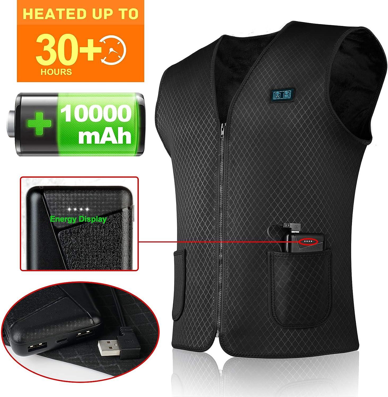 SHAALEK Chaleco Calefactable Hombres y Mujeres Chaleco Calefactable El/éCtrico con Carga USB de Actividades Fr/ías al Aire