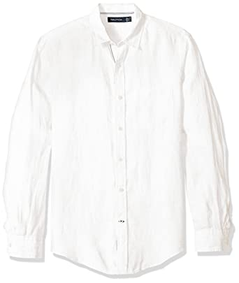 Nautica Men's Long Sleeve Solid Color Button Down Linen Shirt at ...