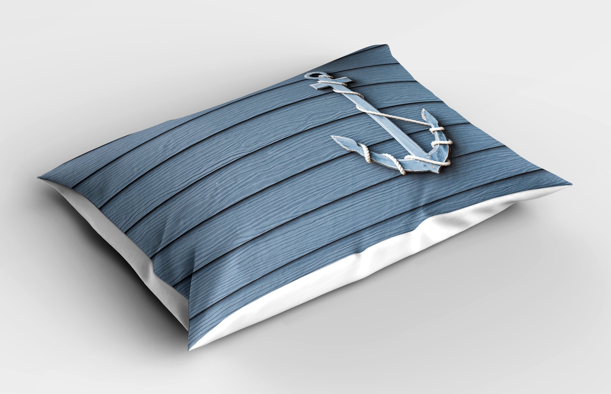 Ambesonne Nautical Decor Pillow Sham by, Anchor with Marine Rope on Wood Background Sea Ocean Life Coast Cruise Theme, Decorative Standard Size Printed Pillowcase, 26 X 20 Inches, Blue Grey by Ambesonne (Image #2)