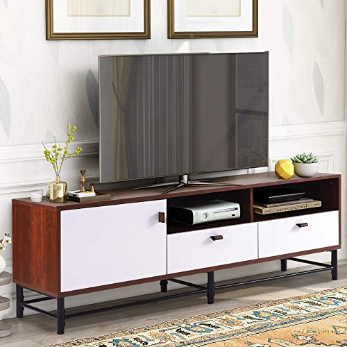 P PURLOVE TV Stand TV Console Table Television Stand with Metal Legs Storage Cabinets for Living Room Bedroom, Brown and White