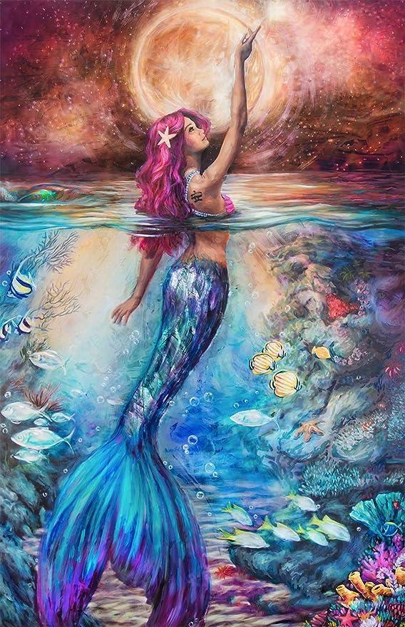 UK The Mermaid Moon Full Drill 5D Diamond Painting Embroidery Cross Stitch QW