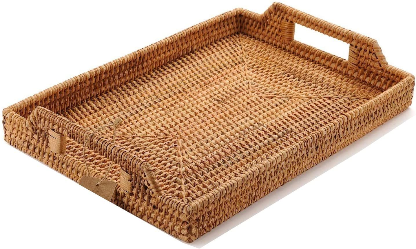 Amazon Com Yangqihome Hand Woven Rattan Serving Tray With Handles For Breakfast Drinks Snack For Dining Coffee Table 14 5 Inch 37 Cm Rectangular Kitchen Dining
