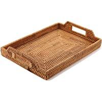 Hand-Woven Rattan Rectangular Serving Tray with Handles for Breakfast, Drinks, Snack for Dining/Coffee Table 14.5 inch (37cm) YQH0012