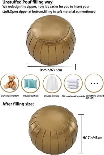 Comfortland Unstuffed Ottoman Pouf Covers,Large Faux Leather Foot Stool