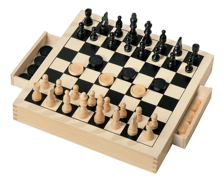 GRANDI GIOCHI Gg95001d'échecs et dames en bois Startrade