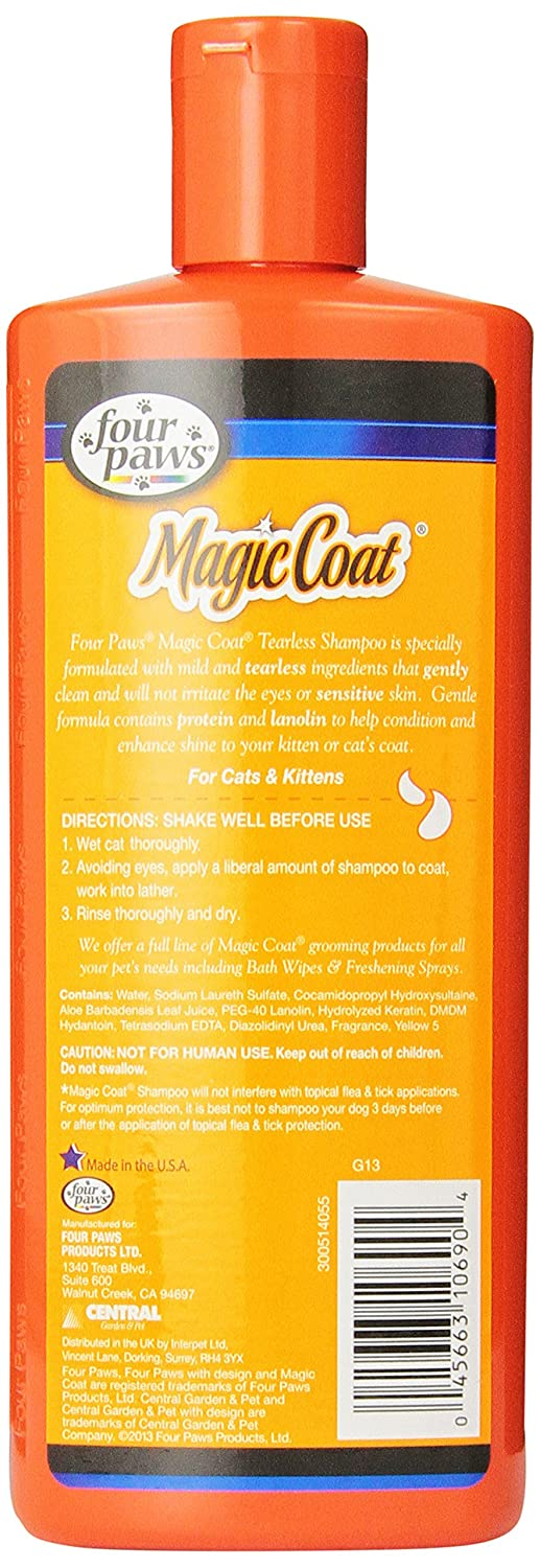 Amazon.com : (3 Pack) Four-Paws Magic Coat Cat Tearless Shampoo, 12-Ounce Each : Pet Supplies