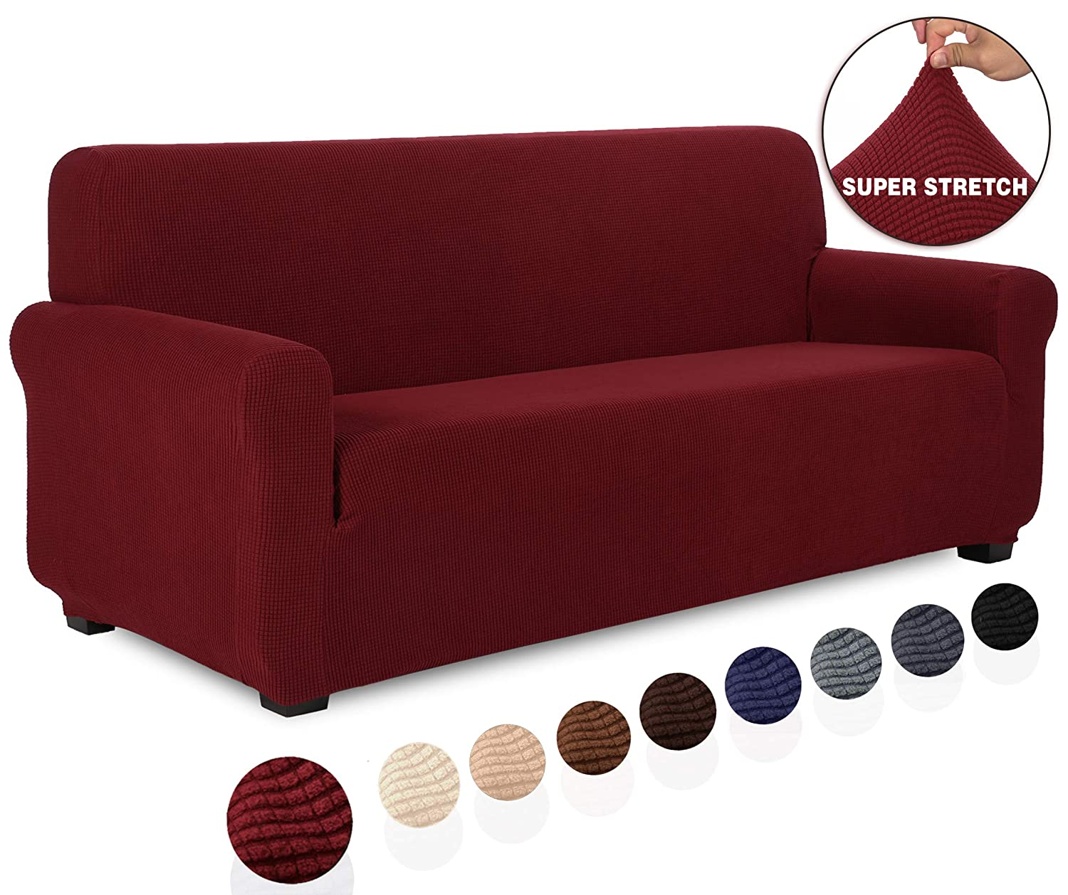 TIANSHU Stretch Jacquard Couch Cover, 1-Piece Couch Cover for Sofa, 3 Cushion Sofa Slipcover for Living Room, Soft/Durable/Stay in Place Furniture Covers (Sofa, Dark Wine)