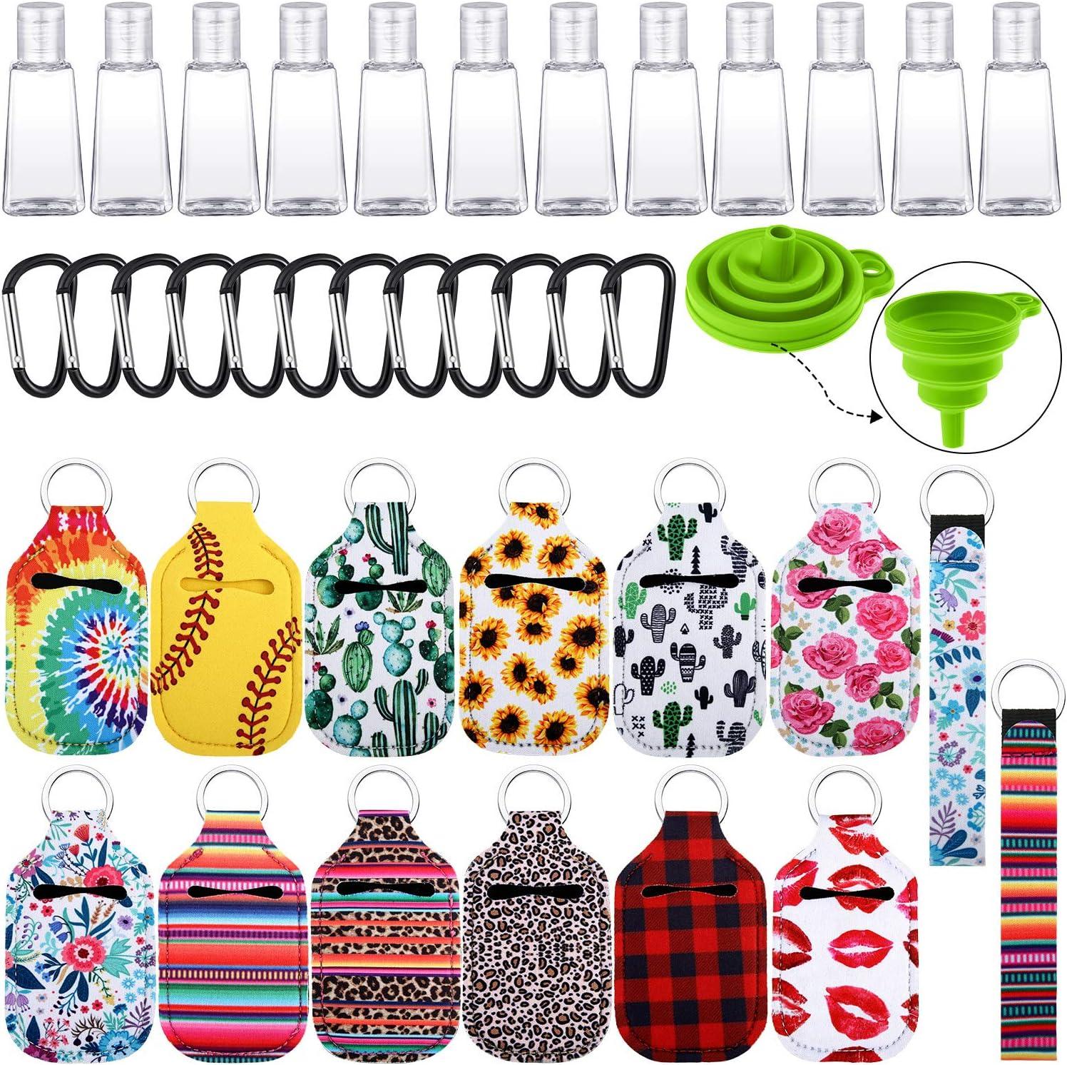 12 Botellas Rellenables de Tapa Abatible de 30 ml 2 Cord/ón de Pulsera y Embudo para L/íquidos Incluye 12 Fundas Llaveros de Botella Set de 39 Botellas de Llavero de Viaje Vac/ías 12 Clip de Llavero