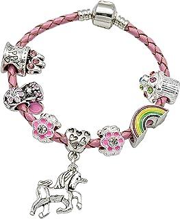 Braccialetto in pelle rosa da ragazza con charm e inserto a forma di unicorno in confezione regalo