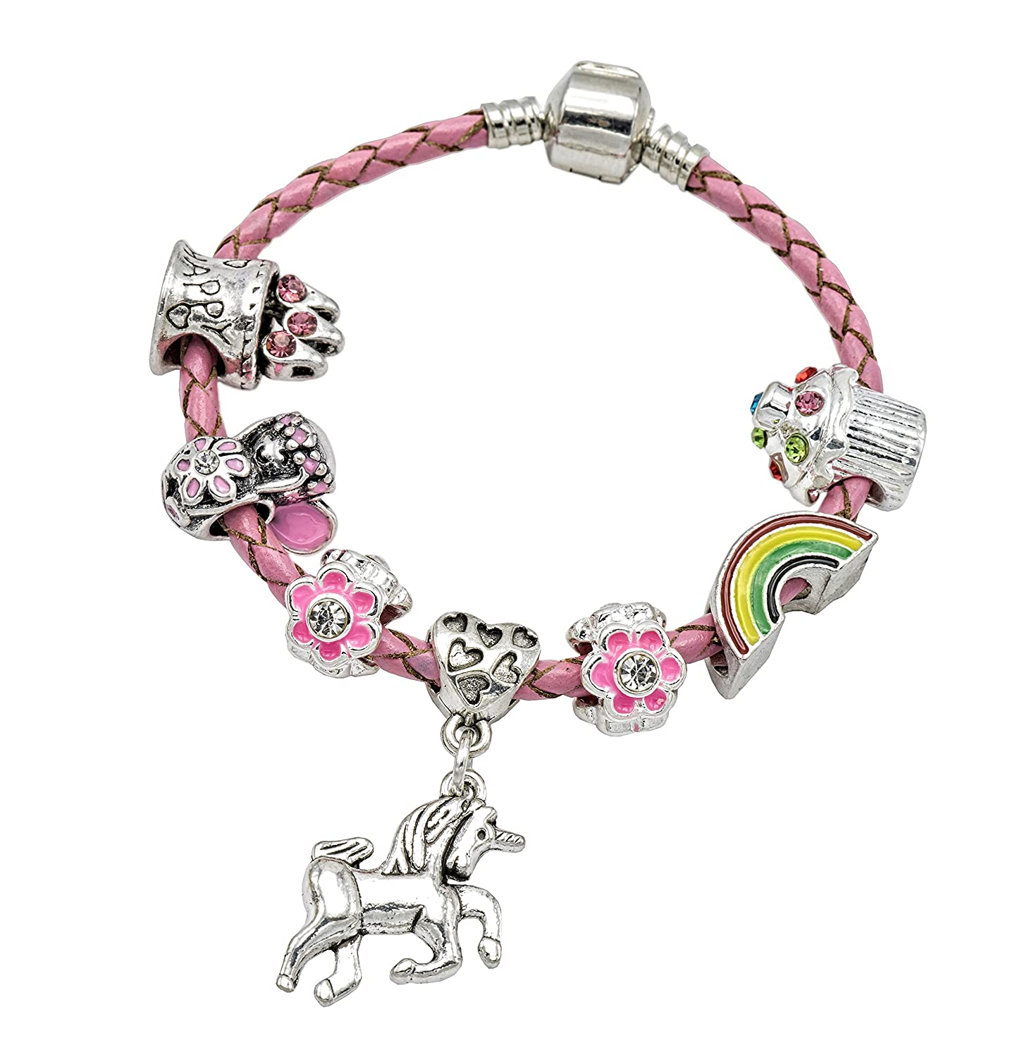 Jewellery Hut Girl's Pink Leather Unicorn Birthday Charm Bracelet Gift Box Unicorn Insert BRBIRTHDAYUNICORNPINK