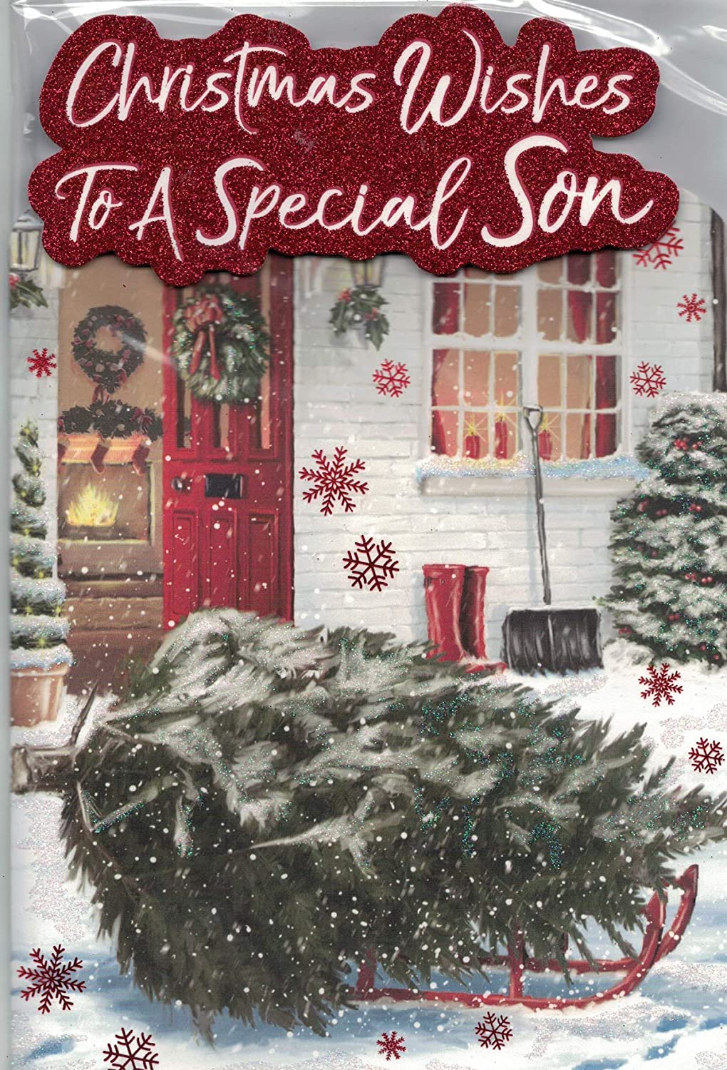 Special Son Christmas Card****Traditional Xmas Tree***9 X 6 INCHES**