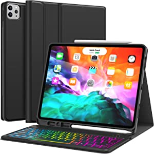 Keyboard Case for iPad Pro 12.9 2020 4th Generation, iPad Pro 12.9 Case with Keyboard 3rd Generation 2018-7 Colors Backlit - Wireless Detachable - Pencil Holder - Stand Cover -iPad Pro 12.9 Keyboard