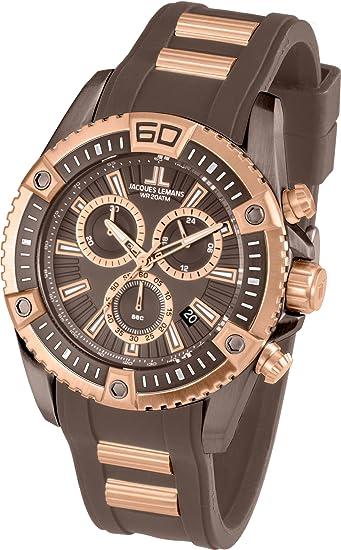 Jacques Lemans Liverpool Professional - Reloj de cuarzo para hombre, con correa de silicona,
