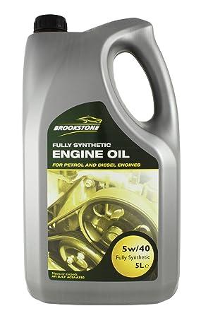 Brookstone - 5L 5/40 W totalmente sintético aceite para motores de gasolina/diesel: Amazon.es: Coche y moto