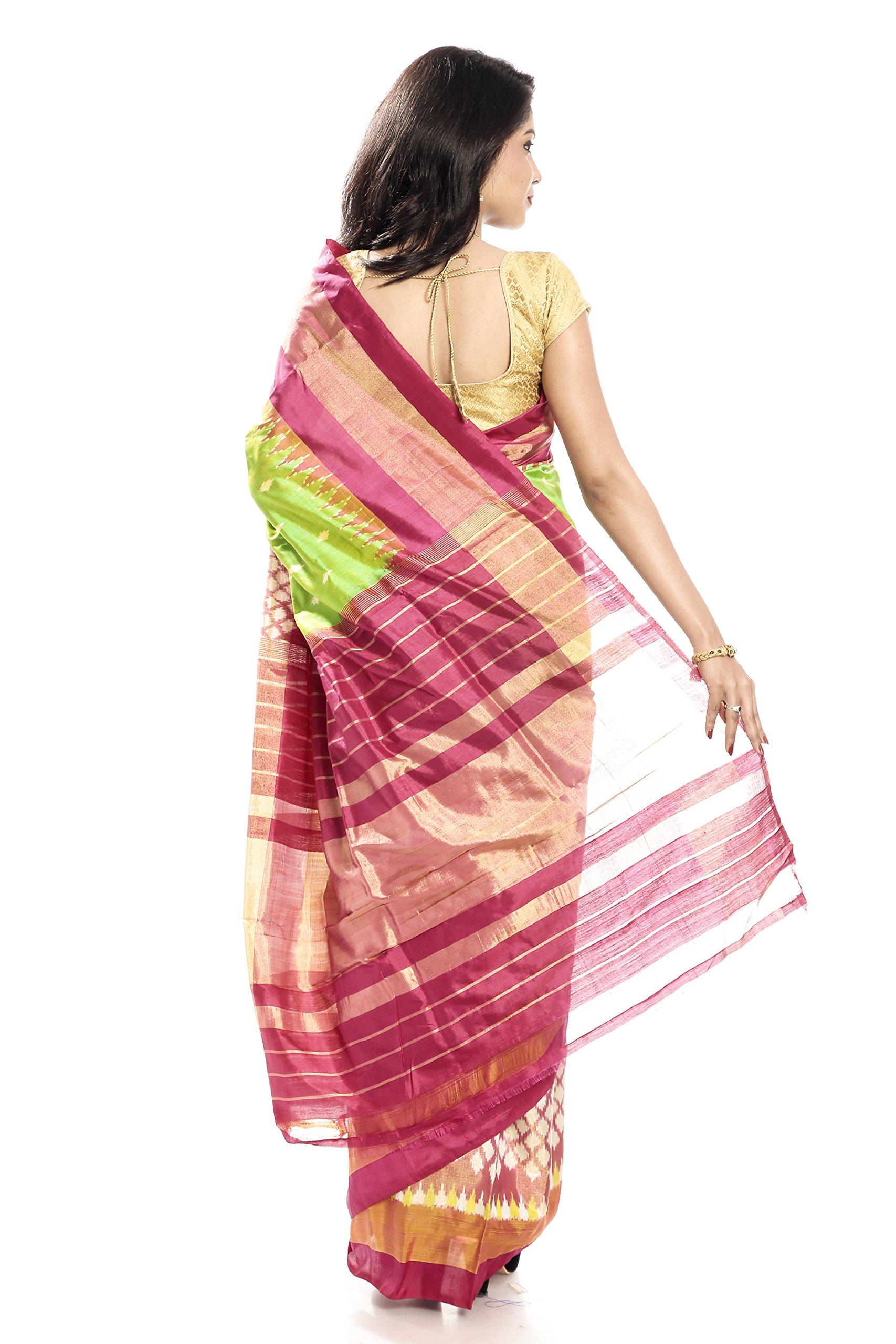 Mandakini — Indian Women's Pochampally - Handloom - Ikat Pure Silk Saree (Pink-Green ) (MK303) by Mandakini (Image #5)