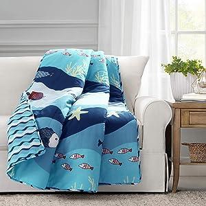 Lush Decor, Blue Sea Life Throw Blanket, 60 x 50
