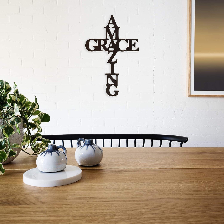 Amazon Com P Graham Dunn Amazing Grace Cross Black 24 X 12 Wood Cutout Wall Word Home Kitchen