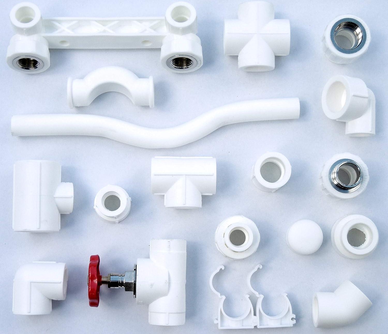 1 x Befestigung 20mm PP-R Rohr 20 mm Verbinder Winkel Kniest/ück Muffe T-St/ück Fitting Fittings PPR