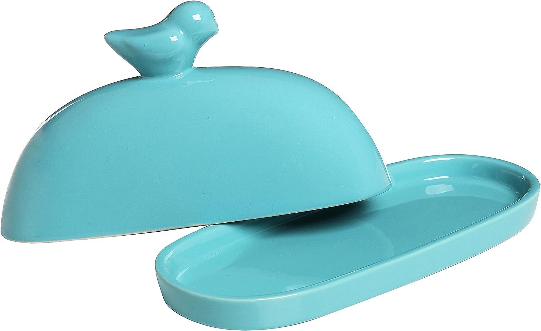 MyGift Bird Design Deko Keramik Butterdose und Deckel Schutzh/ülle rot