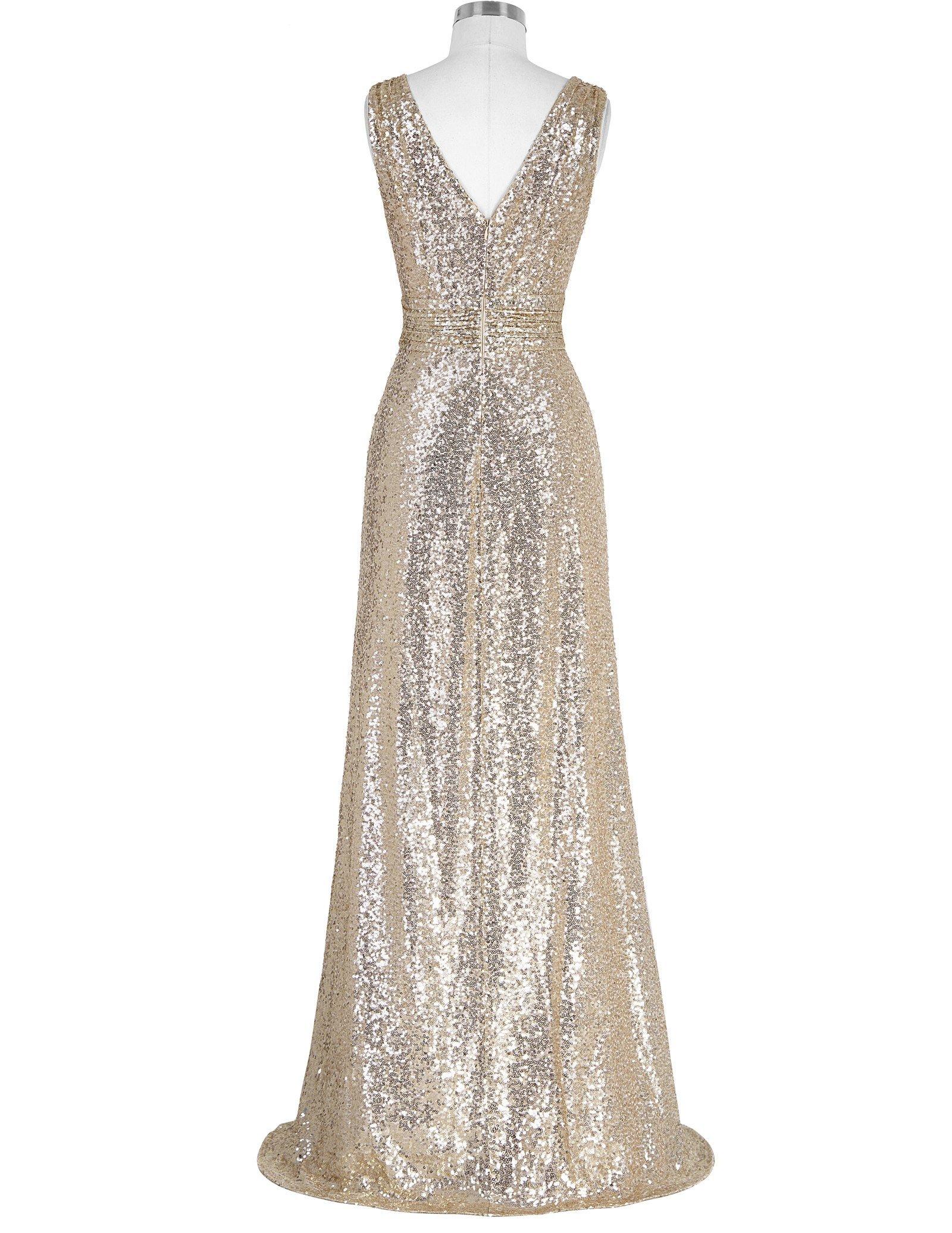 Kate Kasin V Neck Shining Evening Plus Size Prom Dress Light Gold Size 12 KK199 by Kate Kasin (Image #2)
