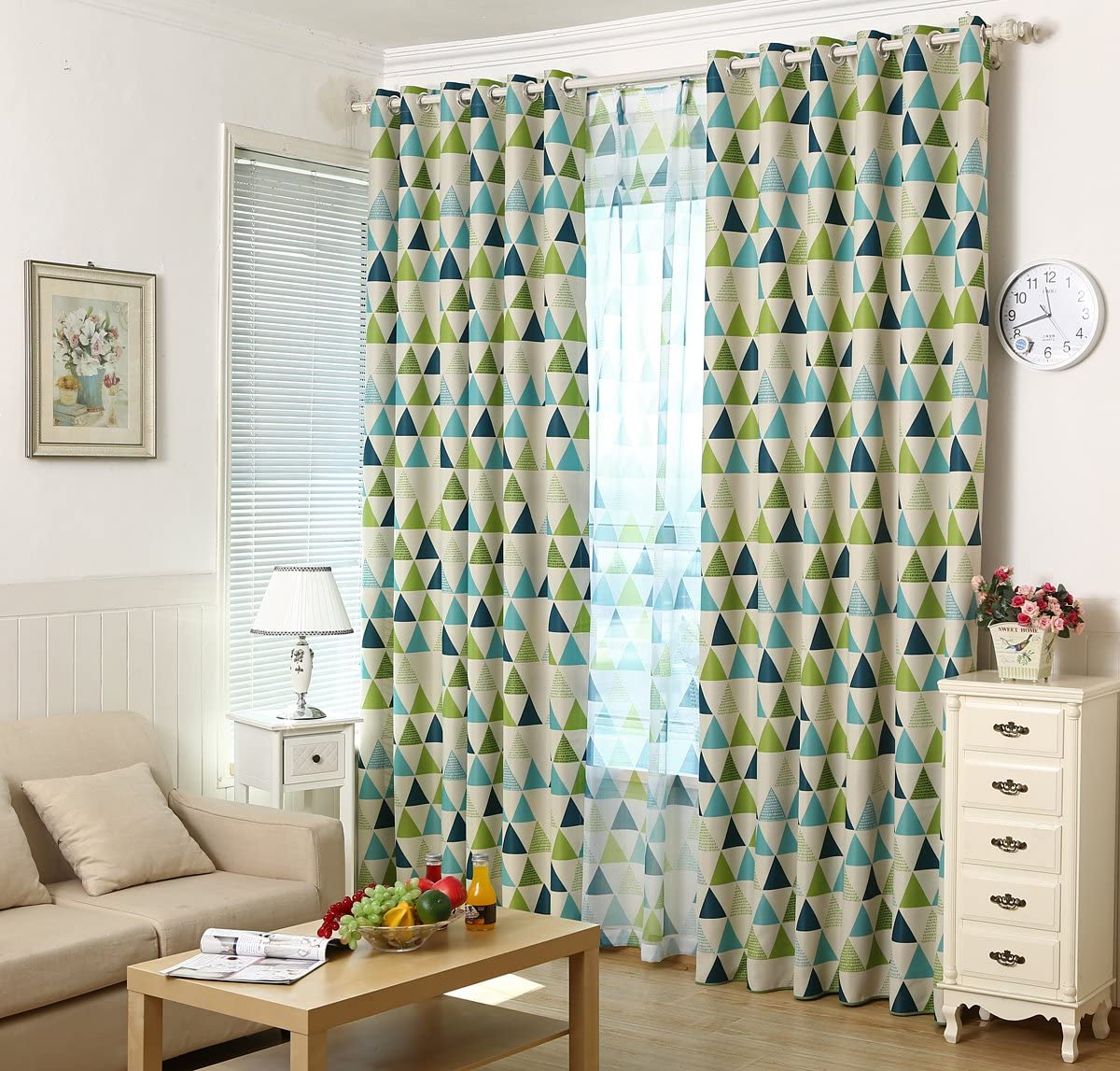 MYRU 2 Panels Set Geometric Triangle Grommet Top Room Darkening Curtains for Boys Girls Kids Room Green, 2 x 54×84 Inch