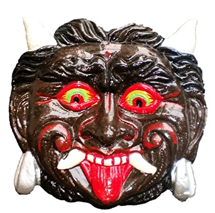 ADA Handicraft Nazar Battu - Wall Hanging Metal Mahakal Face Mask Nazar Battu Evil Eye Protector - Nazar Suraksha Kawach for House Infants, Children, Home, Office etc - 6 inches