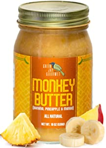 Green Jay Gourmet Monkey Butter - All-Natural, Gluten-Free Banana Butter - Pineapple Spread with Bananas & Mango - Gourmet Fruit Butter - No Corn Syrup, Preservatives or Trans-Fats - 19 Ounces