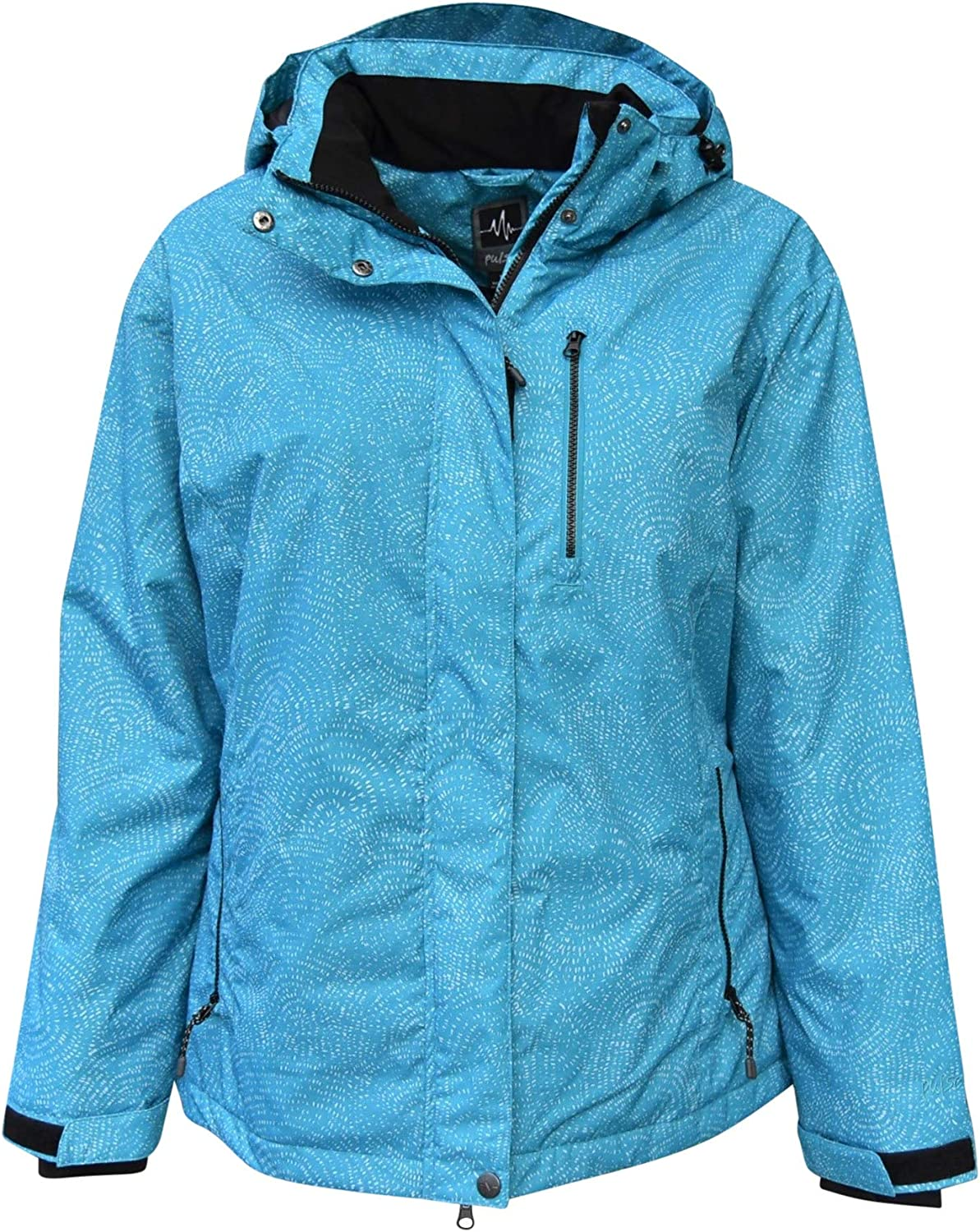 Pulse Women's Plus Size Extended Insulated Bevel Snow Ski Jacket: Clothing