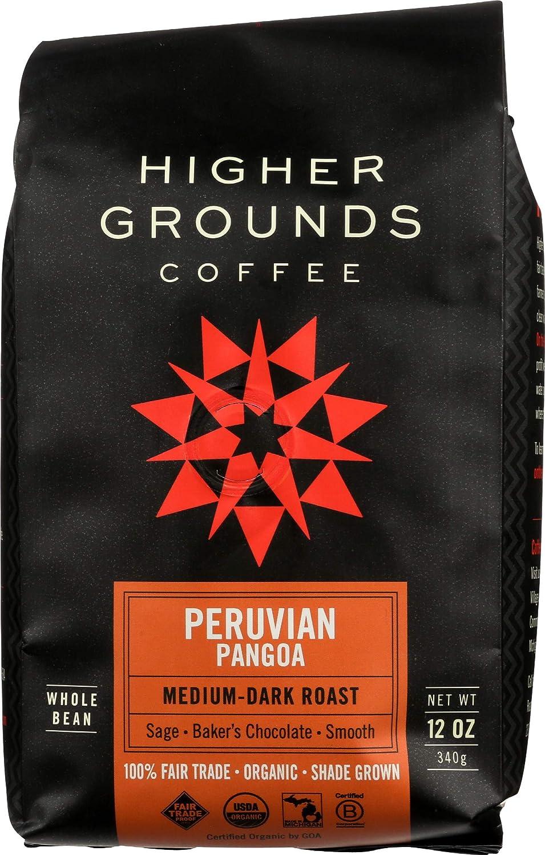 Higher Ground Roasters, Coffee Peruvian Pangoa Dark Roast Organic, 12 Ounce