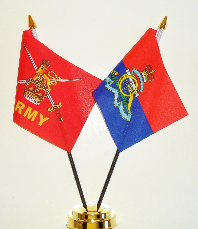 Del Ejército y de la amistad de la bandera de mesa diseño de Artillería Royal pantalla 25 cm: Amazon.es: Jardín