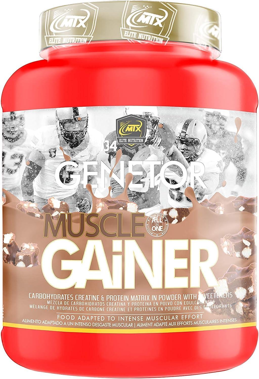 MTX nutrition MuscleGAINER -Genetor- [1,5 Kg.] Chocolate - Suplemento PREMIUM que combina [ALL in ONE] proteínas de suero, carbohidratos avanzados
