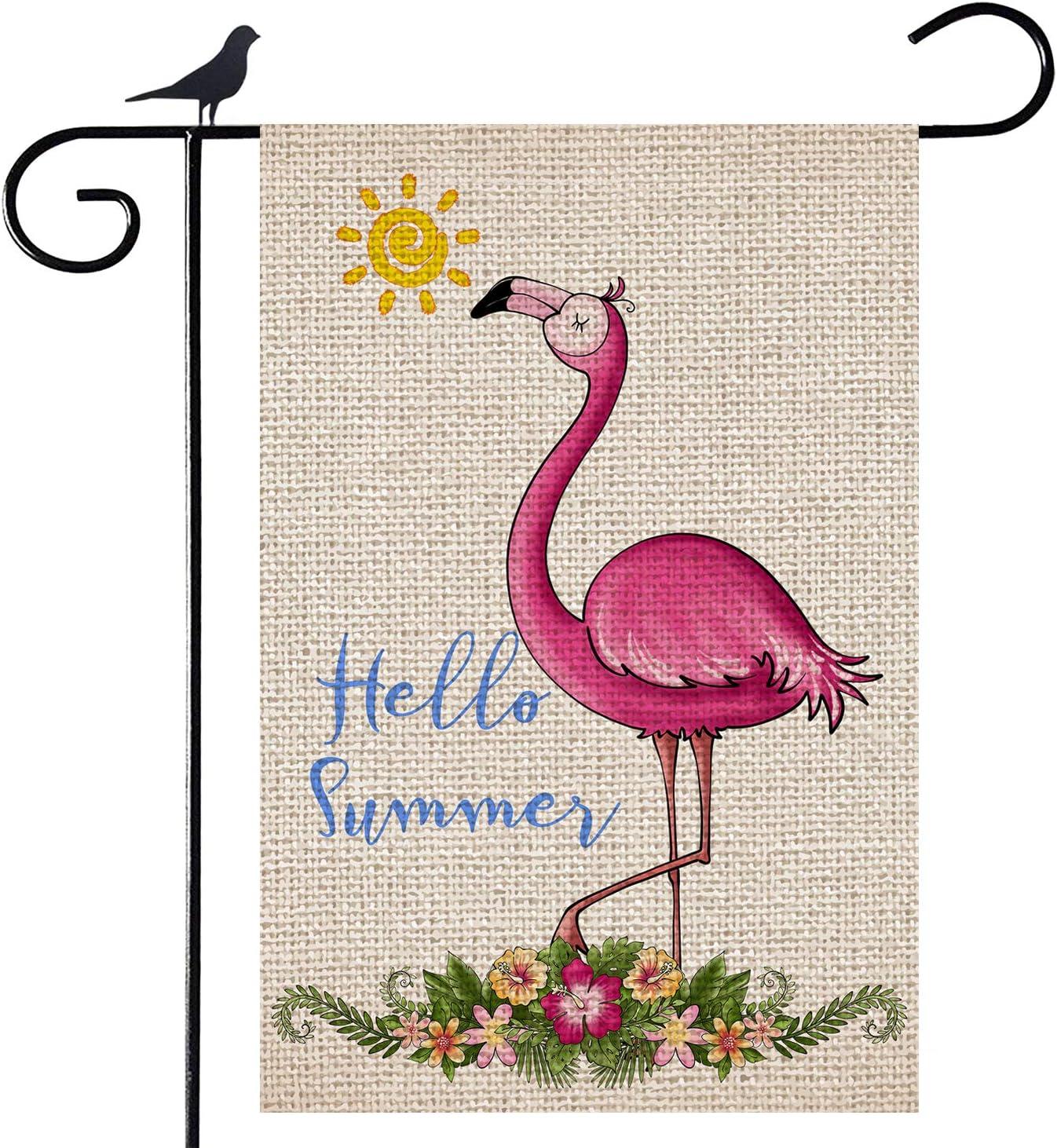 Shmbada Welcome Hello Summer Flamingo Sunshine Burlap Garden Flag, Double Sided Vertical Outdoor Decorative Small Flag for Home Garden Yard Patio Farmhouse, 12 x 18 Inch