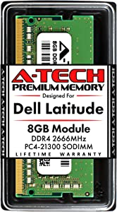 A-Tech 8GB RAM for Dell Latitude 5510, 5410, 5310, 3510, 3410 | DDR4 2666MHz SODIMM PC4-21300 Laptop Memory Upgrade Module